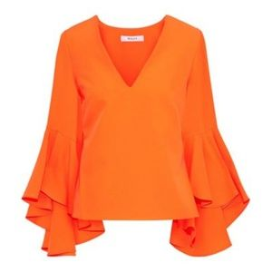 NWT Milly Nicole Top Size 0 Ruffle Sleeve Orange
